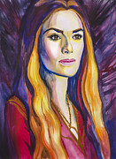 Red Drawings Acrylic Prints - Game of Thrones Cersei Lannister Acrylic Print by Slaveika Aladjova