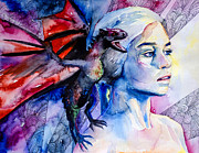 Blue Mixed Media Prints - Game of thrones- Daenerys Targaryen Print by Slaveika Aladjova
