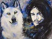 Wolf Drawings Framed Prints - Game of Thrones Jon Snow Framed Print by Slaveika Aladjova