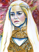 Watercolor Mixed Media Framed Prints - Game of Thrones Khaleesi Framed Print by Slaveika Aladjova