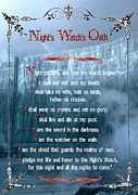 Lithograph Digital Art Framed Prints - GAME OF THRONES - Nights Watch Oath 1 Framed Print by Little Vintage Chest