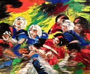 Football Paintings - Game On by Karen  Ferrand Carroll