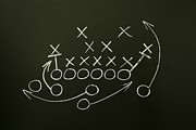 Football Safety Prints - Game strategy drawn on blackboard Print by Ivelin Radkov