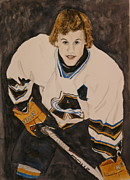 Hockey Player Paintings - Game Time by Betty-Anne McDonald