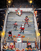 Pond Hockey Paintings - Game Time by Jill Alexander