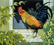 Farm House Paintings - Gamecock and Hen by Carol Walklin