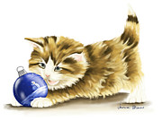 Game Prints - Games cat Print by Veronica Minozzi