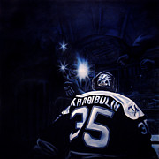 Hockey Goalie Paintings - Gametime by Marlon Huynh
