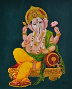 Vinayaka Paintings - Ganapathi by Rupa Prakash