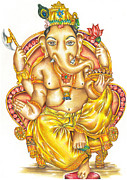 Worship God Drawings - Ganapati dada by Hiten Mistry