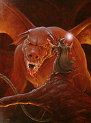 Lord Of The Rings Painting Posters - Gandalf fighting the Balrog Poster by John Silver