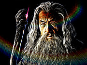 Long Hair Mixed Media Acrylic Prints - Gandalf Acrylic Print by The DigArtisT