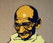 India Metal Prints - Gandhi Metal Print by Rebecca Mott