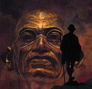 Statue Portrait Mixed Media Prints - Gandhi - the walk Print by Richard Tito