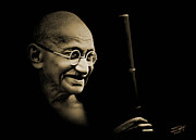 Emancipation Digital Art - Gandhi Walking to the Sea by Schwartz