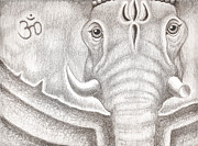 Elephant Drawings Framed Prints - Ganesh Framed Print by Adam Wood