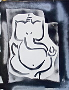 Stencil Art Paintings - Ganesh Black n White by Tony B Conscious