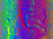 Ganesh Digital Art Framed Prints - Ganesh Framed Print by Ellen Vaman
