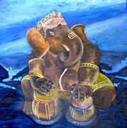 Drums Paintings - Ganesh by Mila Kronik