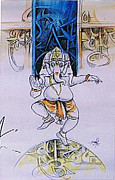 Ganapathi Paintings - Ganesha Dancing by Ajay Kumar Samir