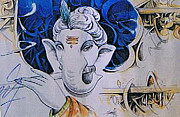 Ganapathi Paintings - Ganesha Playing Bansuri by Ajay Kumar Samir