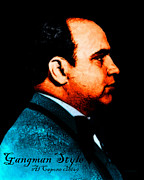 Humor Digital Art - Gangman Style - Al Capone c28169 - Black - Painterly by Wingsdomain Art and Photography