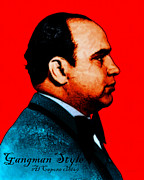 Mob Digital Art Prints - Gangman Style - Al Capone c28169 - Red - Painterly Print by Wingsdomain Art and Photography