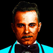 Humor Digital Art - Gangman Style - John Dillinger 13225 - Black - Color Sketch Style by Wingsdomain Art and Photography