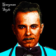 Bowtie Metal Prints - Gangman Style - John Dillinger 13225 - Black - Color Sketch Style - With Text Metal Print by Wingsdomain Art and Photography