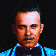 Bowtie Metal Prints - Gangman Style - John Dillinger 13225 - Black - Painterly Metal Print by Wingsdomain Art and Photography