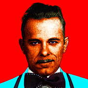 Bowtie Metal Prints - Gangman Style - John Dillinger 13225 - Red - Color Sketch Style Metal Print by Wingsdomain Art and Photography