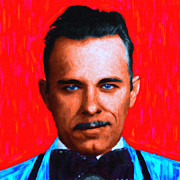 Humour Framed Prints - Gangman Style - John Dillinger 13225 - Red - Painterly Framed Print by Wingsdomain Art and Photography