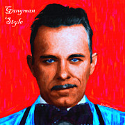 Mugs Posters - Gangman Style - John Dillinger 13225 - Red - Painterly - With Text Poster by Wingsdomain Art and Photography