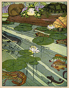 Etc. Digital Art Posters - Garada Clark Riley Living Pond with Frog Turtle Lily Pads Fish Crawfish Mouse Snail Lizard etc Poster by Pierpont Bay Archives