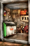 Antique Fan Prints - Garage - Just behind the Garage Print by Mike Savad