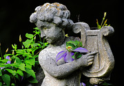 Garden Ornament Framed Prints - Garden Angel Framed Print by Charline Xia