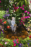 Waterfall Photos - Garden angel by Garry Gay