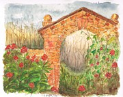 Watercolors Painting Originals - Garden Arch by Carlos G Groppa