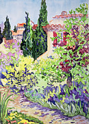 Tile Paintings - Garden at Vaison by Julia Gibson