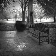 Brick Patio Posters - Garden Bench black and white photograph Poster by Ann Powell
