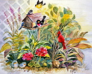 Lattice Painting Metal Prints - Garden Birds Metal Print by Marilyn Smith