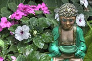 Namaste Framed Prints - Garden Buddha Framed Print by Jane Linders