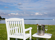 Maryland Wine Framed Prints - Garden chair and champagne by Chesapeake bay Framed Print by Steve Heap