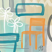 Teal Mixed Media Posters - Garden Chair Poster by Linda Woods