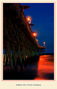 Atlantic Beaches Digital Art Framed Prints - Garden City Pier at Dusk Framed Print by Gary Cain