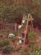 Mason Jars Prints - Garden Decorations Print by Kay Pickens