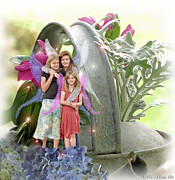 Photomanipulation Photo Prints - Garden Fairies Print by Debbie Portwood