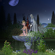 Digital Art - Garden Fairy - Night by Fairy Fantasies