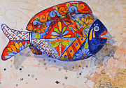 Pottery Paintings - Garden Fish by Suzy Pal Powell