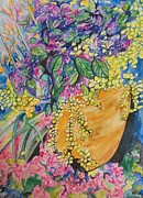 Live Painting Originals - Garden Flowers in a Pot by Esther Newman-Cohen